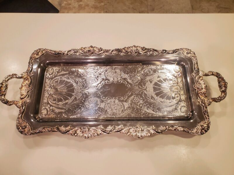 Vintage Leonard Silver Plated Footed Tray Rectangular Handles Butler