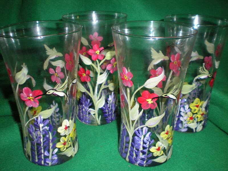 HAND PAINTEDWILDFLOWER HUMMINGBIRD 15 OUNCE  TUMBLER/COOLERS SET OF 4/
