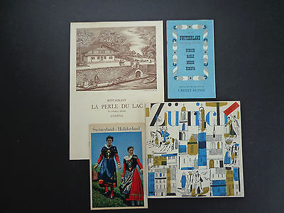 Vintage Swiss travel guides/book, map, brochure and menu mid 20th cent. INV2405