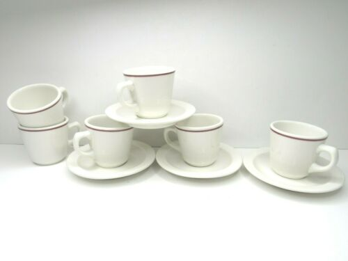 VTG Buffalo China Restaurant Ware Red Stripe 6 Coffee Cups & 4 Saucer Plates USA