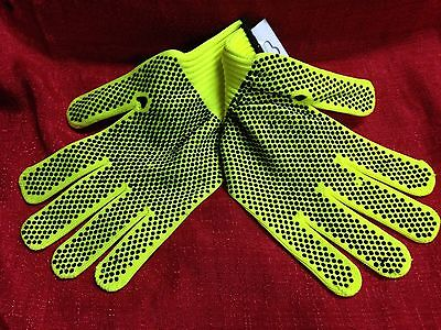 Tool Bench Neon Green Safety Gloves Pvc Dotted Palms For Extra Grip Brand New