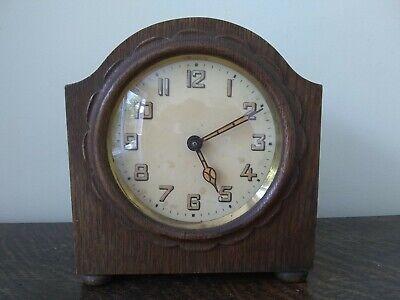 HAC Alarm small Wooden mantle clock spares/repair 14.5 x 15.5 x 7cm deep