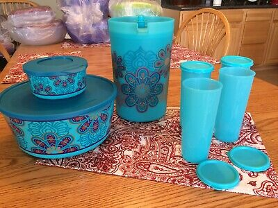 New TUPPERWARE Fabulously Floral Snack & Beverage Set ~ Chip Dip Pitcher ~ Blue