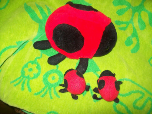 """Vintage B.J. Toy 6"""" Fat Plush Lady Bug with 2 Baby Bugs in and out of Belly"""