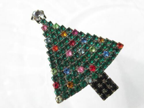 "vintage Dorothy Bauer Rhinestone Modernist Christmas Tree Brooch 2"""