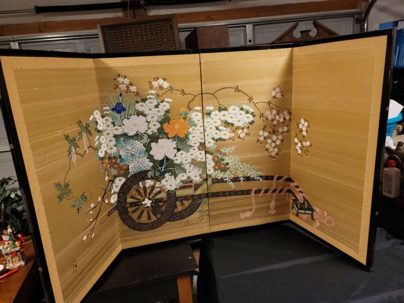"Byobu Japanese 4-Panel Folding Screen Hand Painting 71"" x 31"" Valued $2,200. OBO"