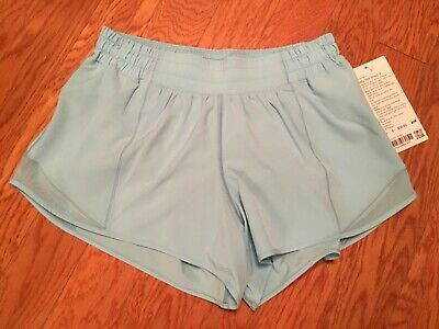 "New NWT Lululemon Hotty Hot Short light Blue HYDU sz 8 Tall Long 4"" inseam"