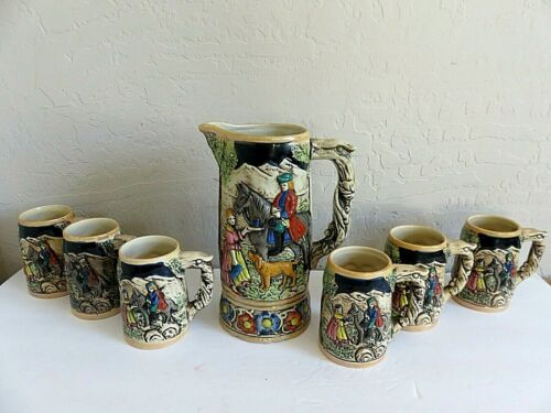 Vintage German Beer Stein Pitcher + 6 Mugs Hand Painted Porcelain