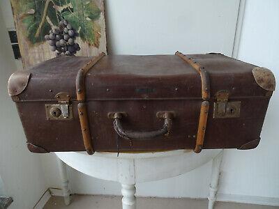 V1778 Antiguo Maleta de Viaje Um 1930 ~Vintage~ con Barra Madera
