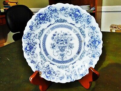 """1 NEW OTHER ARCOPAL HONORINE BLUE & WHITE MILK GLASS SALAD PLATE 7.5""""R FRANCE"""