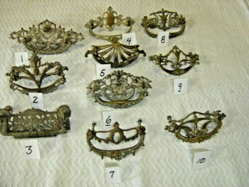 Salvage ~ Antique ~ Choice of 10 Antique Cast Brass Drawer Pulls  ~1360