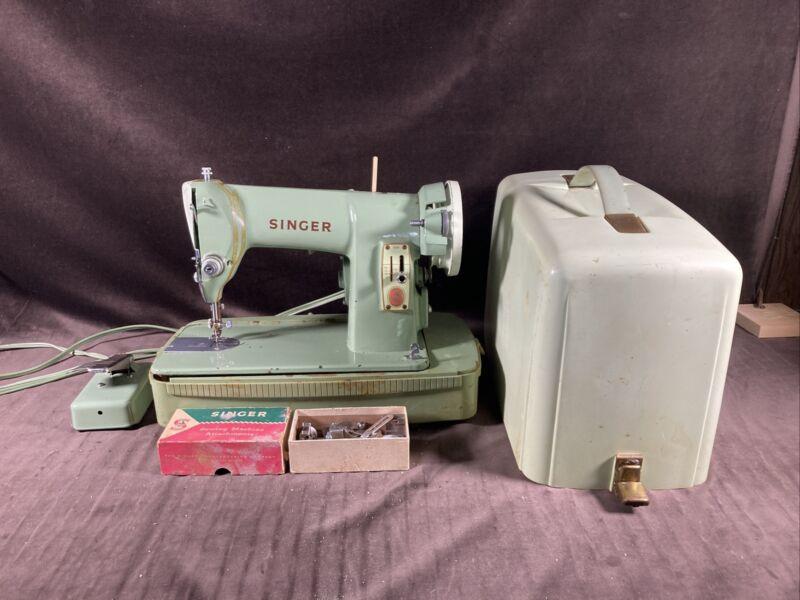 Singer Sewing Machine Vintage Green 185k Case Motor And Light Work Needs Repair