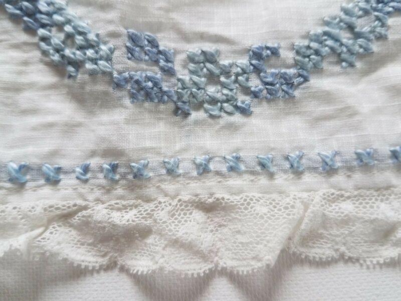 "Antique Window Pane Fabric Lace Trim Embroidered 66""Doll Flounce Curtain Valance"
