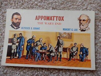 VINTAGE CIVIL WAR POST CARD APPOMATTOX THE WARS END ULYSSES S GRANT ROBERT E LEE