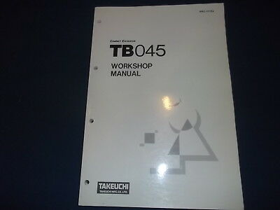 Takeuchi Tb045 Excavator Service Shop Workshop Repair Book Manual Oem Original