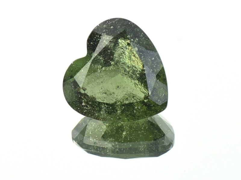 4.43cts HEART 12mm moldavite faceted cutted gem BRUS1389