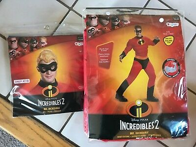 Disney Incredibles Mr. Incredible Adult costume (padded muscles!) &Wig! XXL NEW - Mr Incredible Costume Xxl