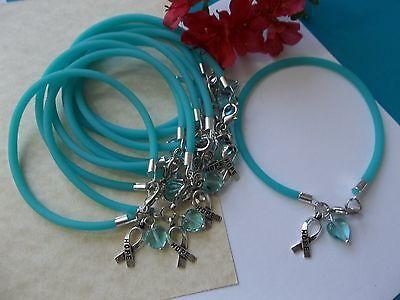 10   Teal Ovarian Cancer Trigeminal Neuralgia  Awareness Hope Bracelets  Heart