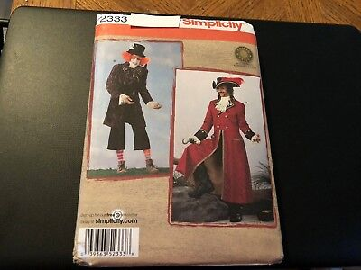 Simplicity Costume Pattern 2333 Mens Cosplay Capt Hook Pirate~Mad Hatter