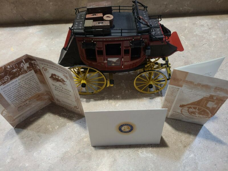 Franklin Mint Wells Fargo Hand-Assembled Stagecoach Model with Documents