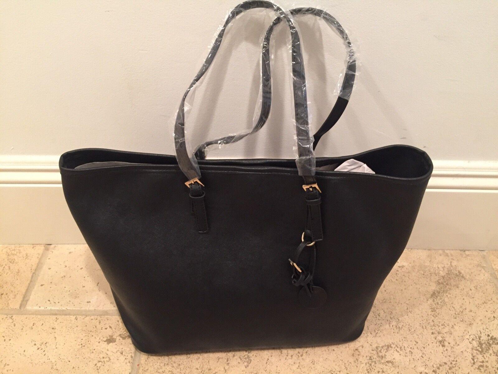 New Womans unbranded Black vegan leather tote handbag