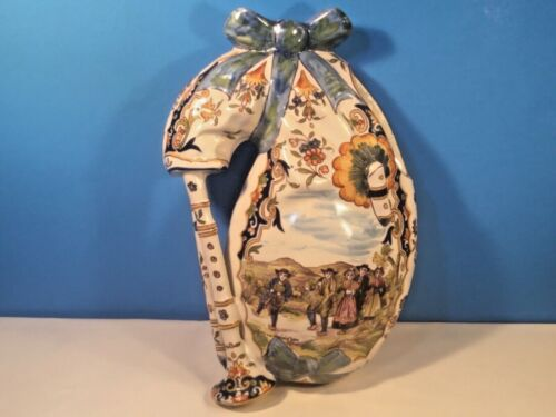 Antique Wall Pocket Vase Hand Painted French Faience Wall Pocket 1800s