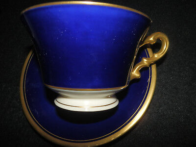 Syracuse Old Ivory Cobalt Blue Gold Encrusted Footed Cup And Saucer  Vguc