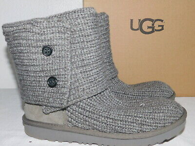 STORE DISPLAY KIDS GIRLS 5 WOMENS 7 GREY UGG CARDY II KNIT SHEEPSKIN BOOTS for sale  Ventura