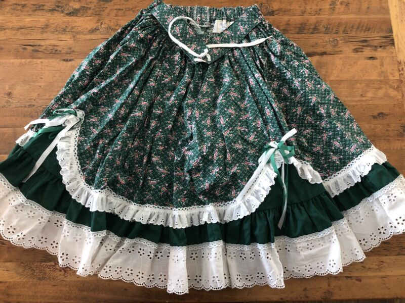 "Vintage Fun & Fancy Originals Womens Square Dance Skirt Green Floral Print 23"" W"