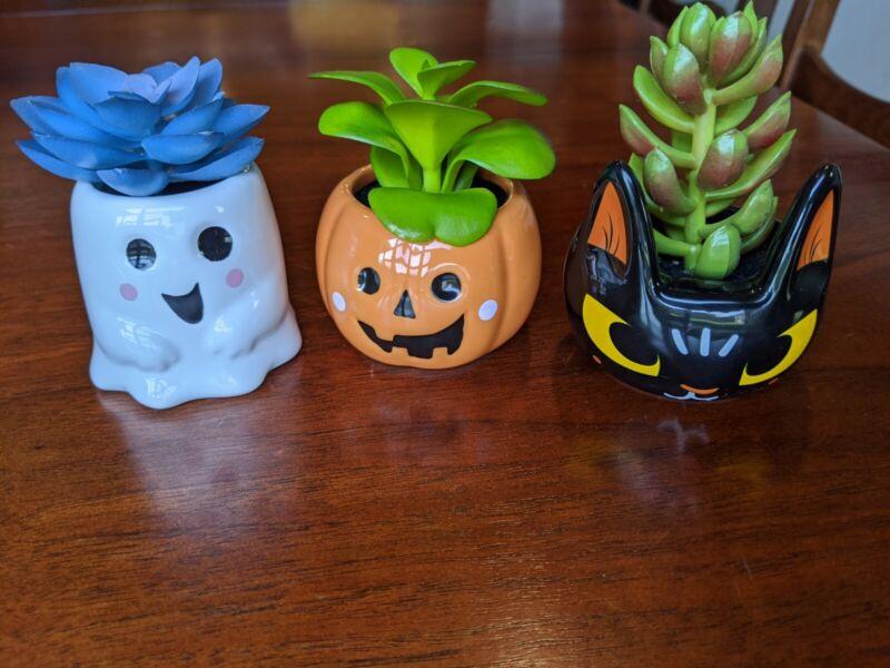 Target Halloween Hyde and Eek Set of 3 Mini Creepy Faux Succulents BRAND NEW!