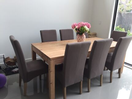 Solid Dining Room Table With 8 Highback Chairs