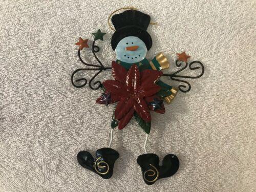 Christmas ornament Metal Wire Snowman Poinsettia flower EX4598
