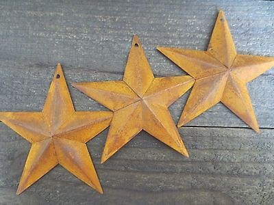 """Set of 3 Rusty Tin Barn Stars 5.5 in 5 1/2"""" Dimensional Primitive Country Rusted"""