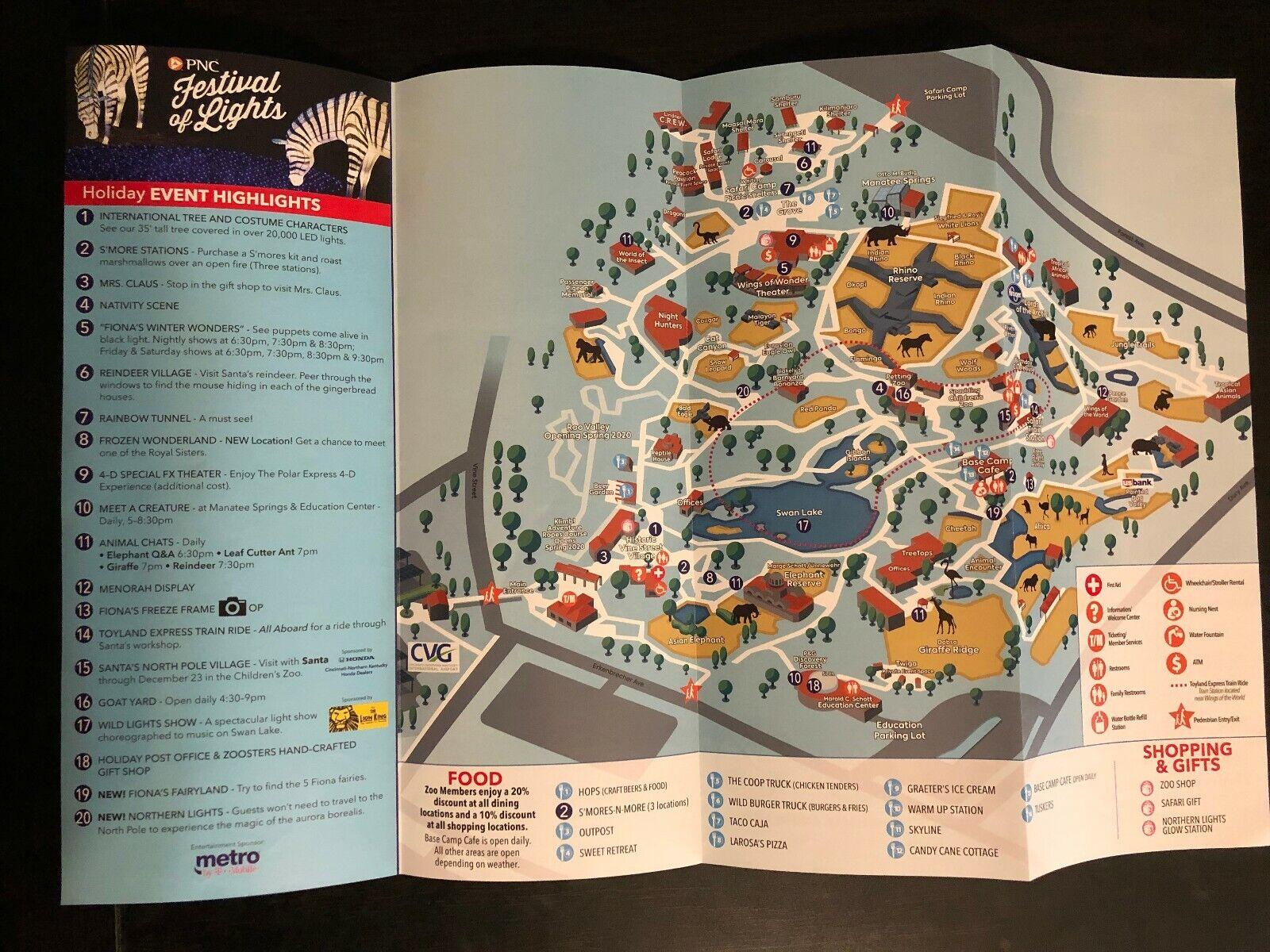 2019 2020 Cincinnati Zoo Festival Of Lights Park Map Official OHIO Christmas - $4.99