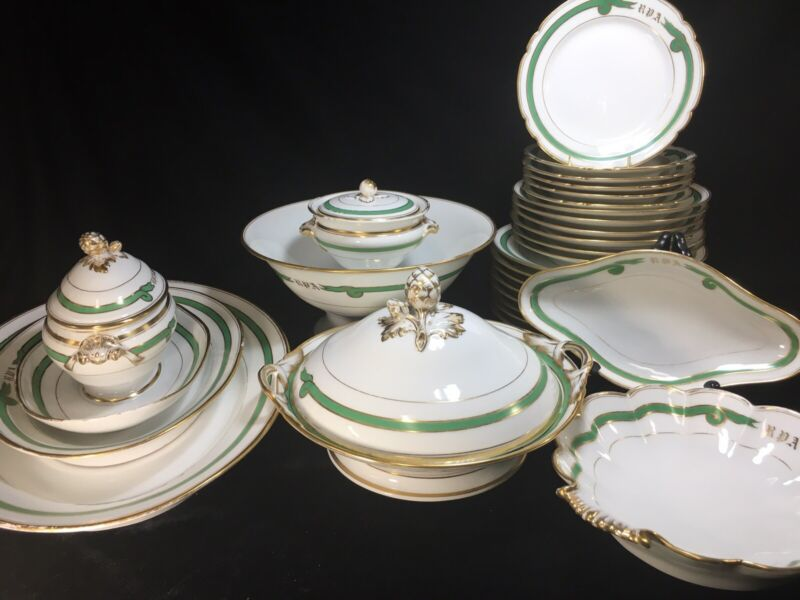 27 Pieces Old Paris Porcelain Empire Green Ribbon DINNER SET - #2- Monogram