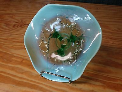Dugan Ice Green Opalescent Whimsey Bowl EAPG