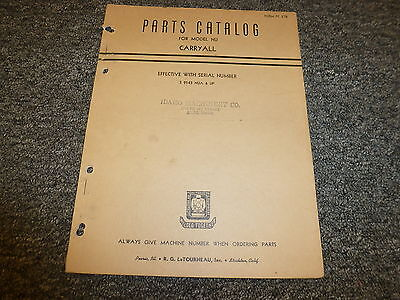 Letourneau Model Nu Carryall Scraper Parts Catalog Manual Pc278