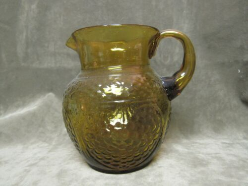Vintage Medium Colored Amber Glass Small Handled Pitcher Pebble Design