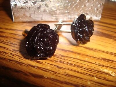 1 Pair #2 BLACK Rose Flower Design Hamilton Silver Plated Cuff links W/Gift Box
