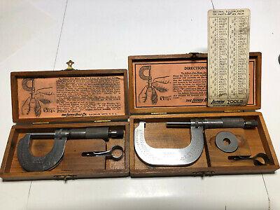 Rare Lufkin 1641v  1642v Micrometers Original Wood Case Wtool Standard