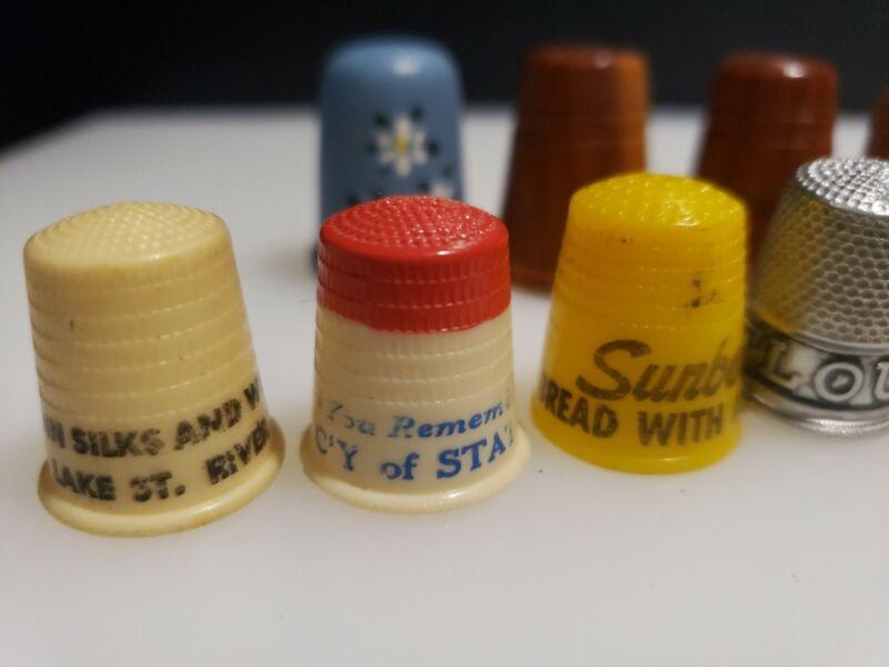 14 Vintage Thimbles Plastic celluloid? wood Advertising Souvenir hand painted