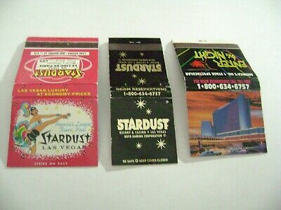 "Lot of 3 Different Match Books, ""STARDUST RESORT & CASINO"", Las Vegas, complete."