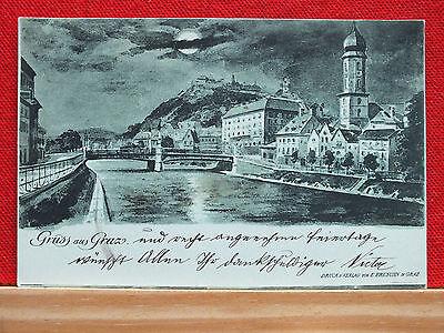 Mondscheinkarte - Graz - gel. 1898 - sehr guter Zustand !!