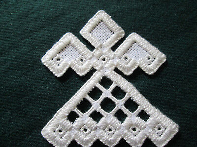 Hardanger Angel Norwegian Embroidery  Hand Made White