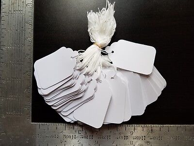 1000 Blank White Merchandise Price Tags With Strings Size 8 Retail Strung Label