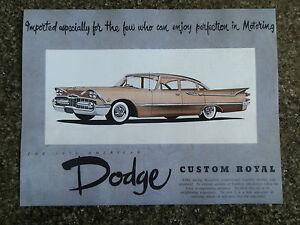 1959 DODGE CUSTOM ROYAL SALES BROCHURE  '' RHD AUSTRALIAN VERSION''  SUPER RARE!