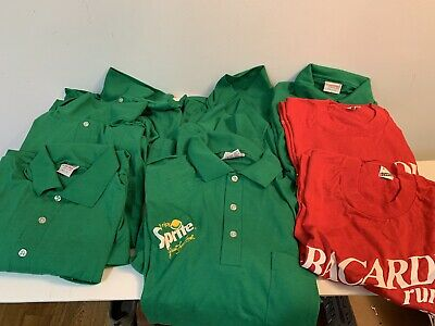 Lot of 9 VTG Coca Cola T-Shirt Coke Sprite Bacardi Large C1