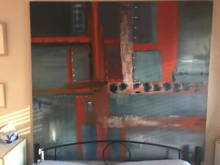 Very Large Abstract Oil On Canvas by Established Artist