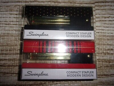 New Swingline Compact 20 Sheet Stapler Red Black And Polka Dot Lot Of 2