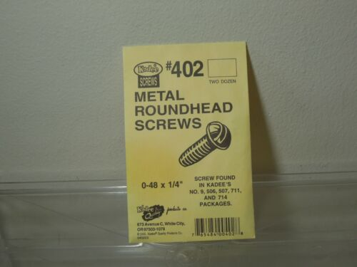 "Kadee #402 metal roundhead screws 0-48 x 1/4"" NIB  24 pieces in bag"